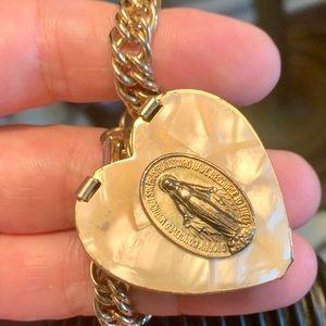 Gold Filled Mother of Pearl Locket Bracelet